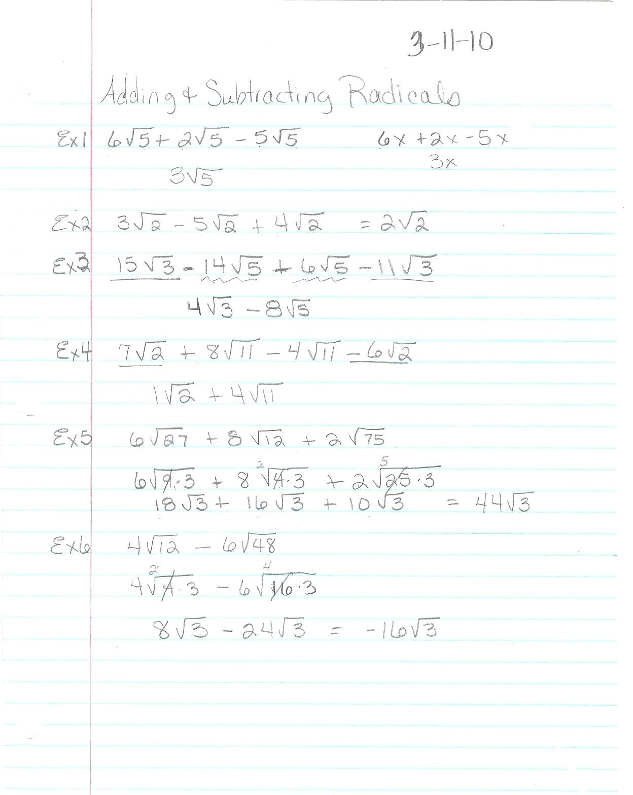 Simplifying Radicals Worksheet 1