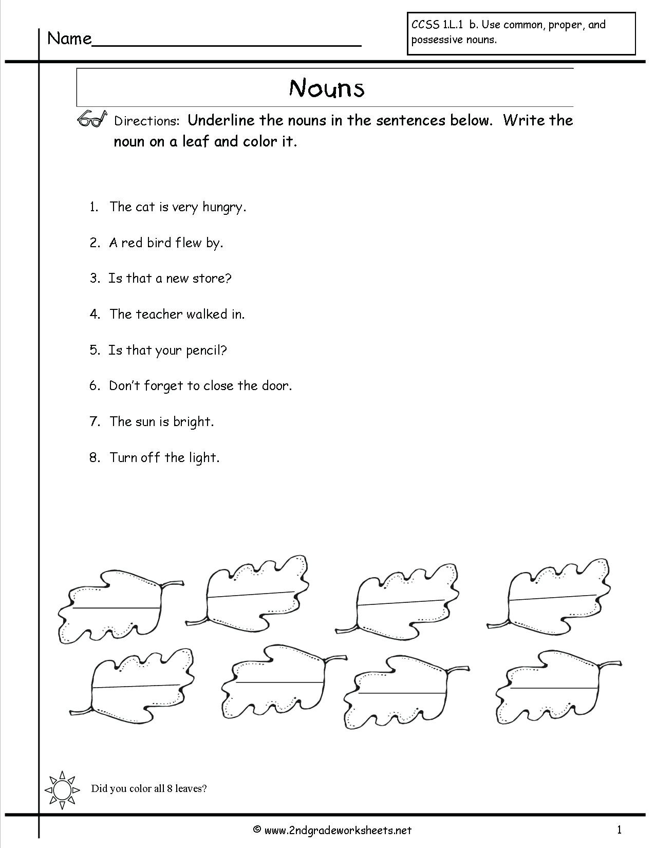 Singular Possessive Nouns Worksheet