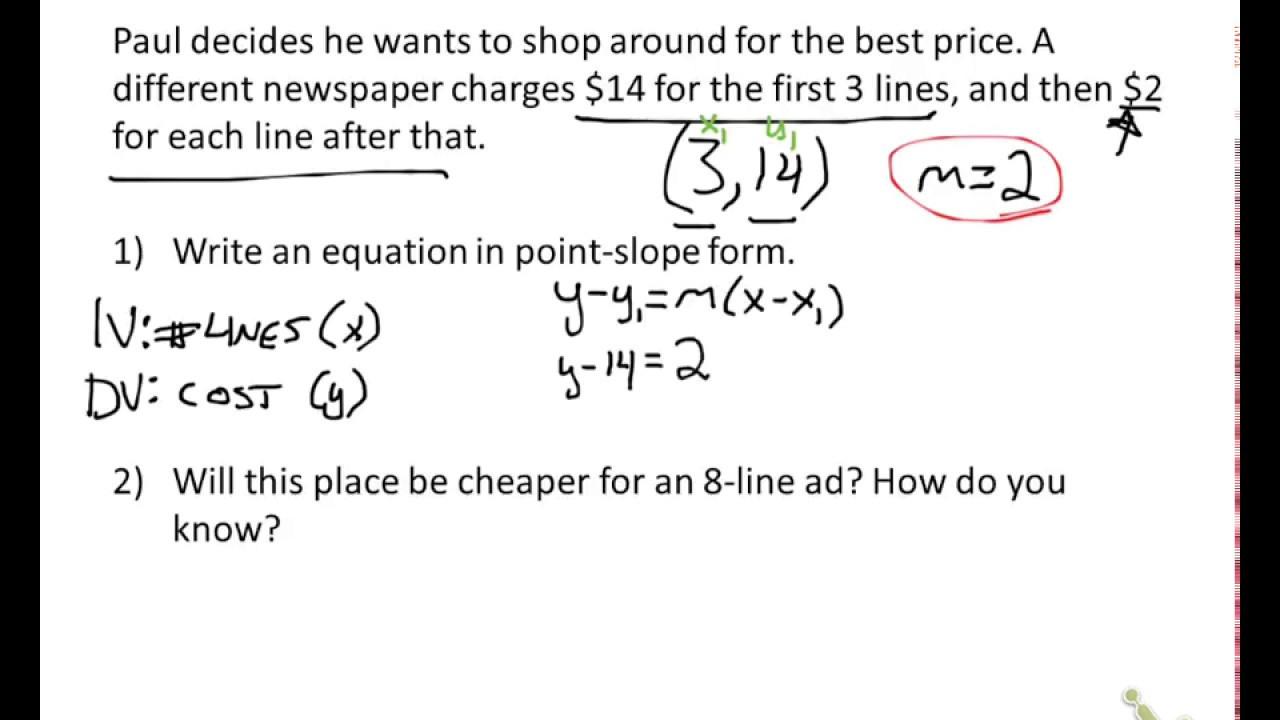 Slope Word Problems Worksheet