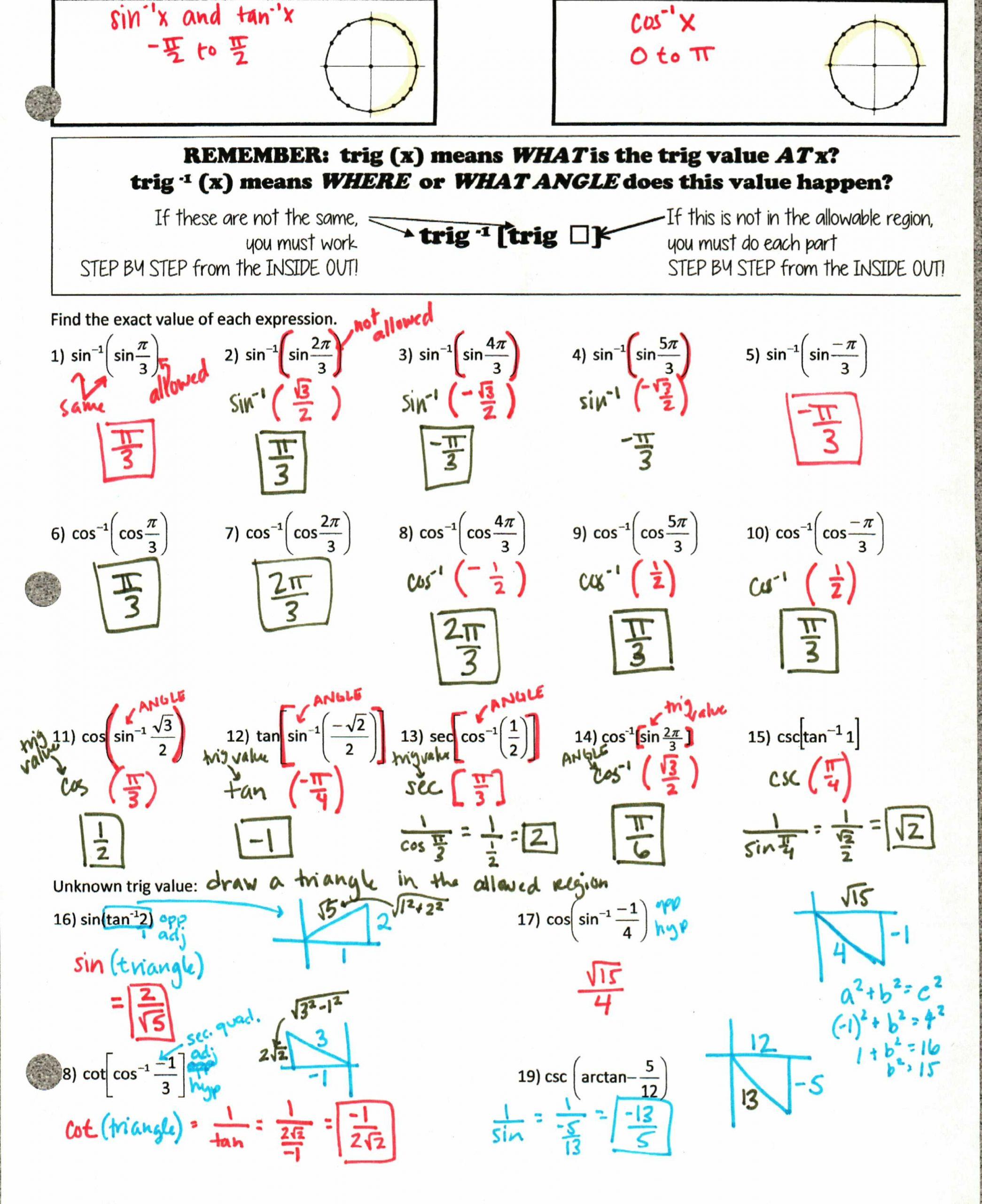 Soh Cah toa Worksheet