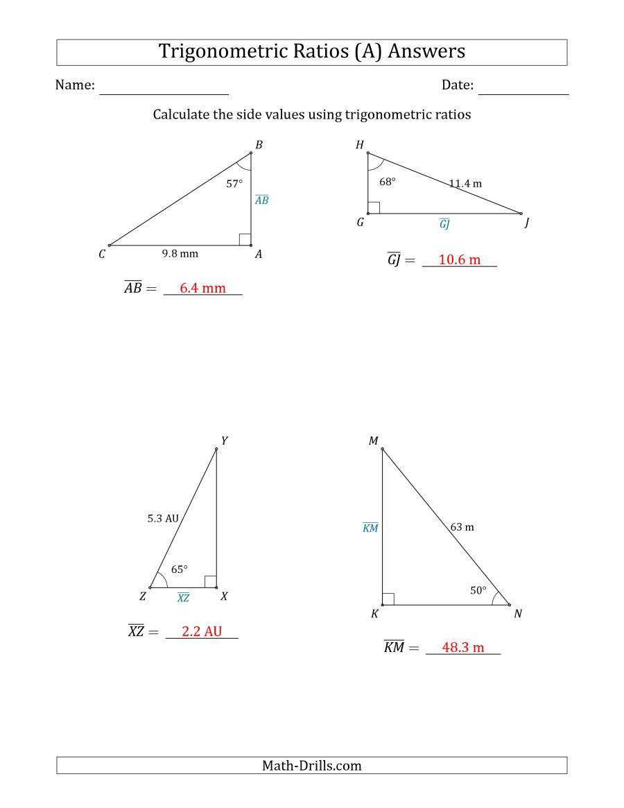30 soh Cah toa Worksheet | Education Template