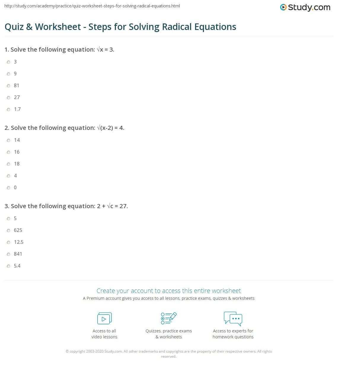 Solve Radical Equations Worksheet