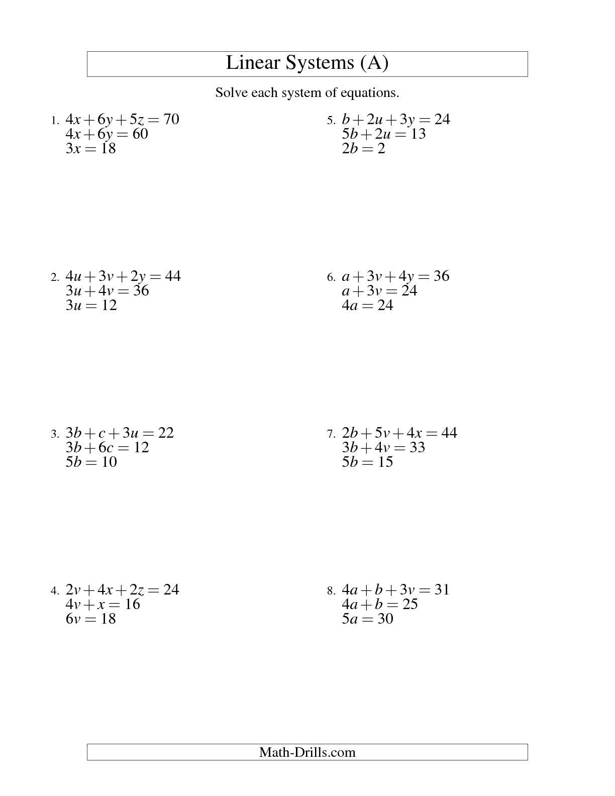 Linear Equations Grade 10 Worksheets
