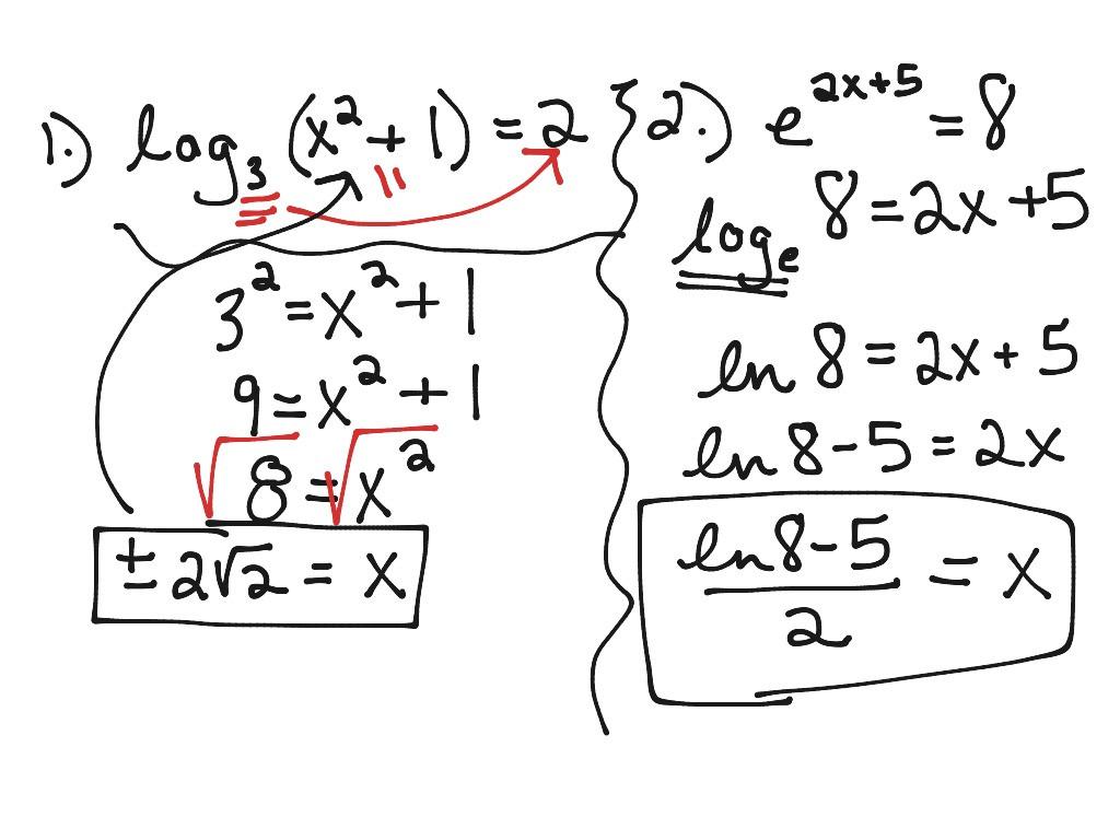 Solving Logarithmic Equations Worksheet