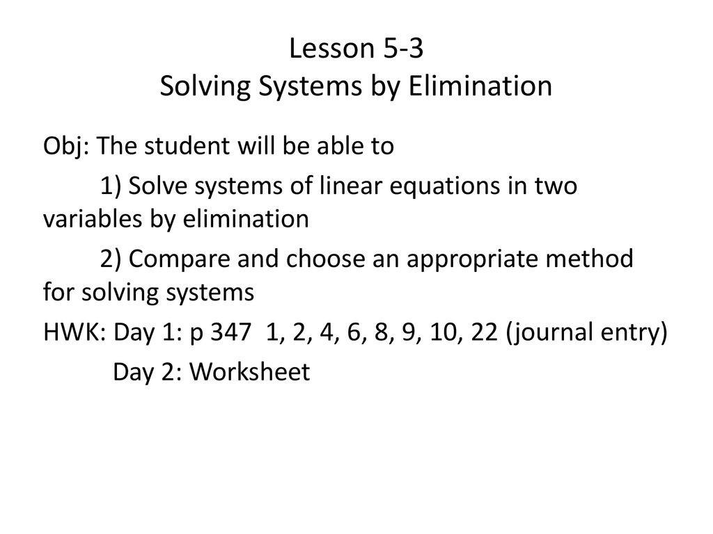 Solving System by Elimination Worksheet