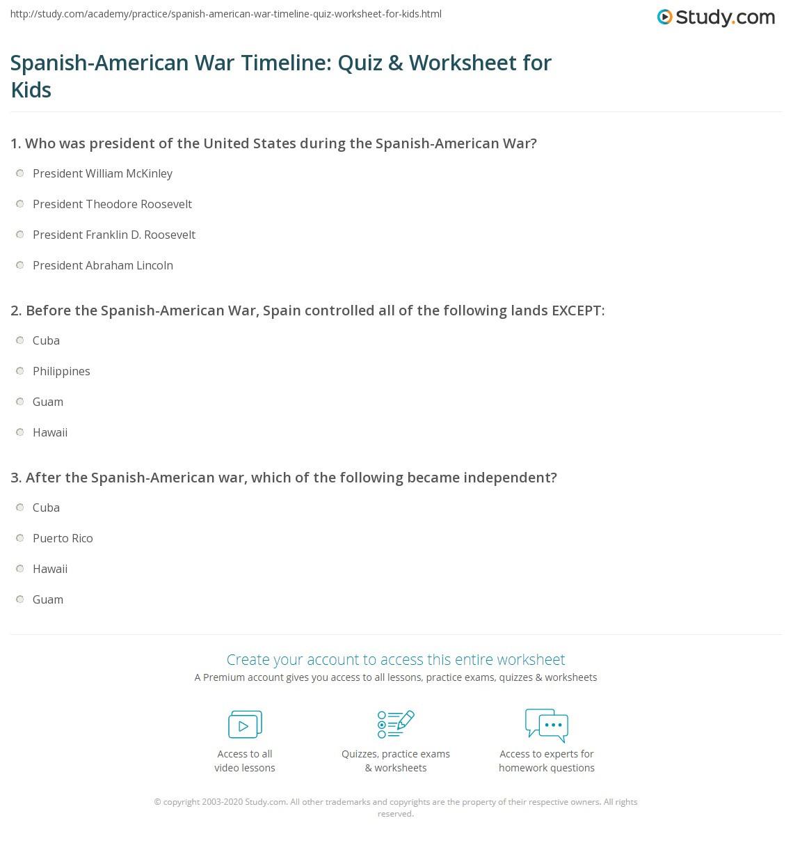 Spanish American War Timeline Quiz & Worksheet for Kids