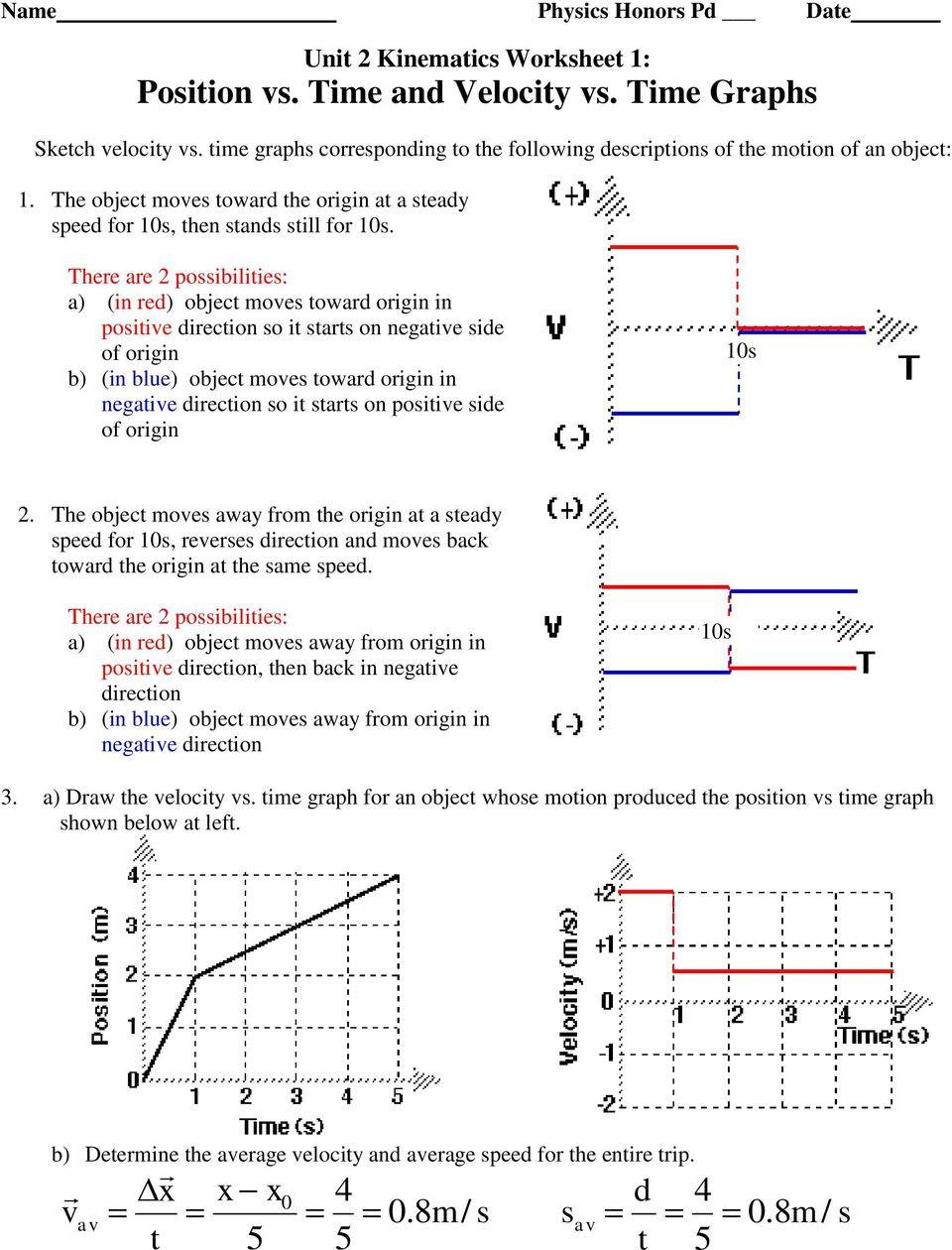 Speed Vs Time Graph Worksheet