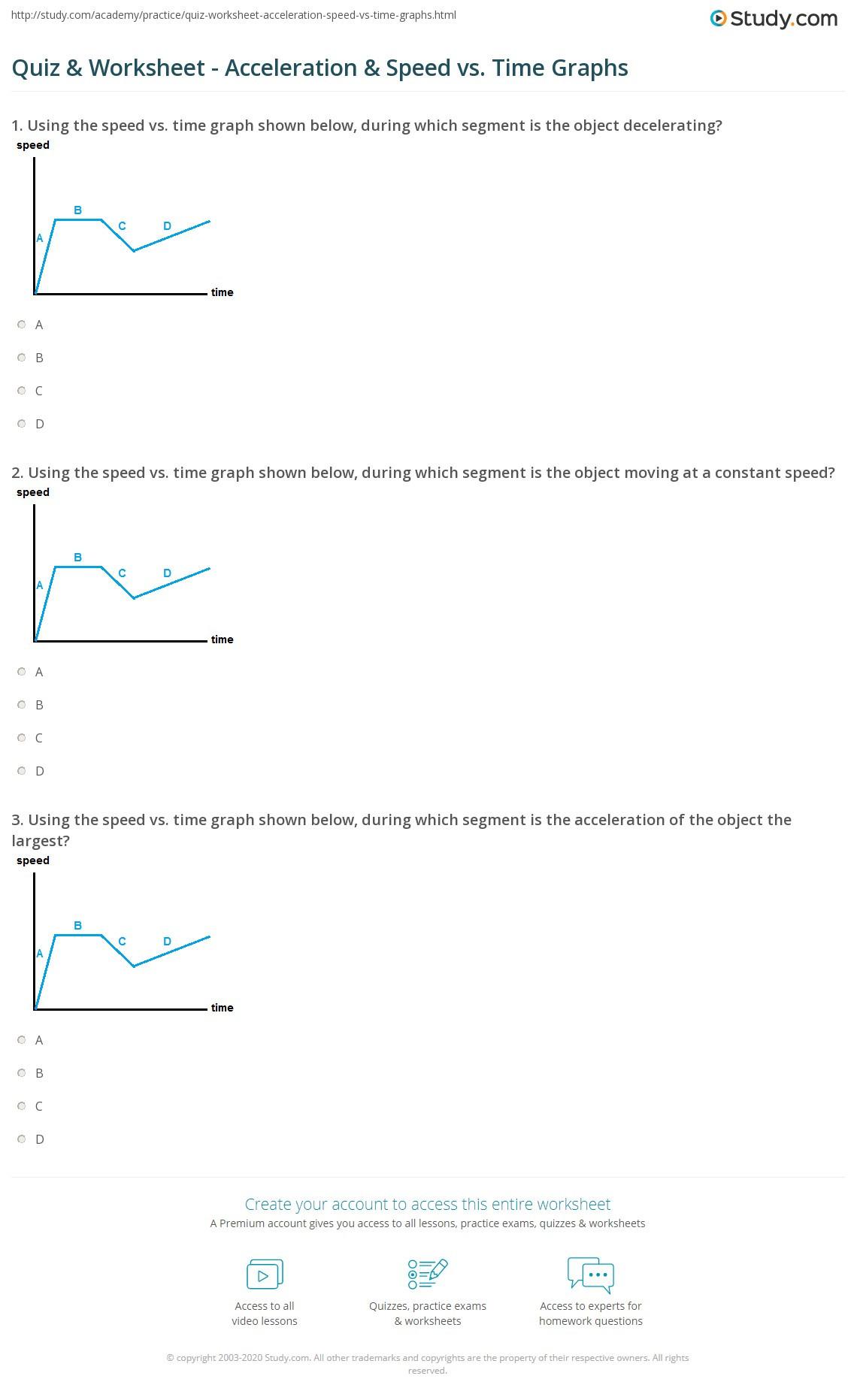 Quiz & Worksheet Acceleration & Speed vs Time Graphs