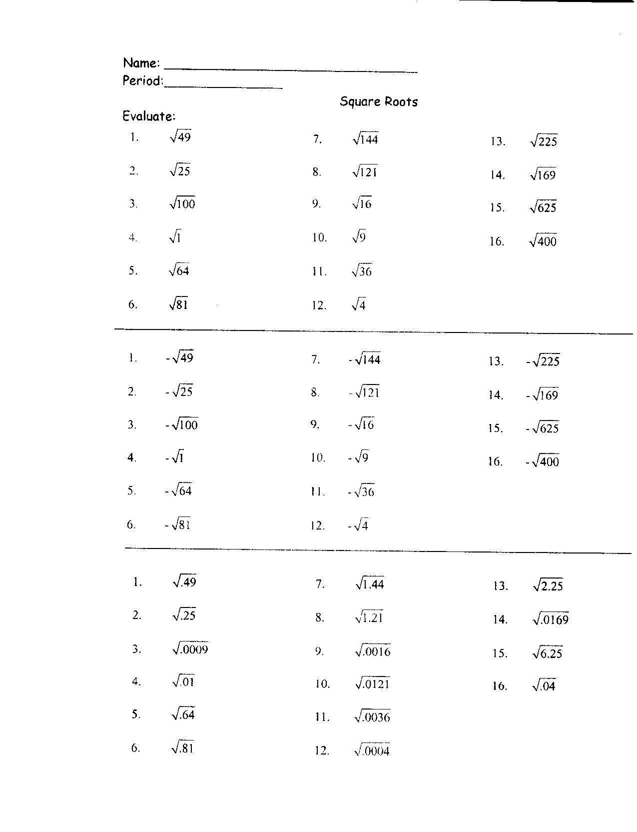 Square Root Practice Worksheet
