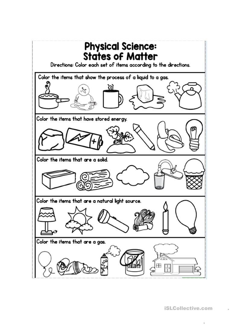 State Of Matter Worksheet
