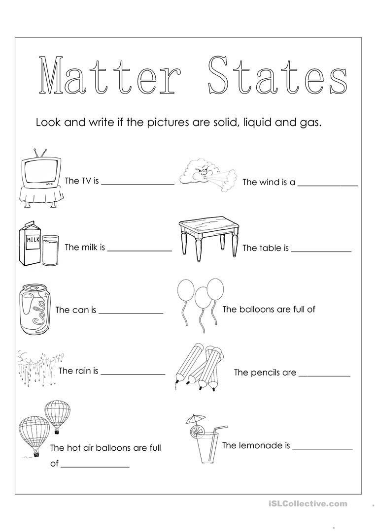 Matter states English ESL Worksheets for distance learning