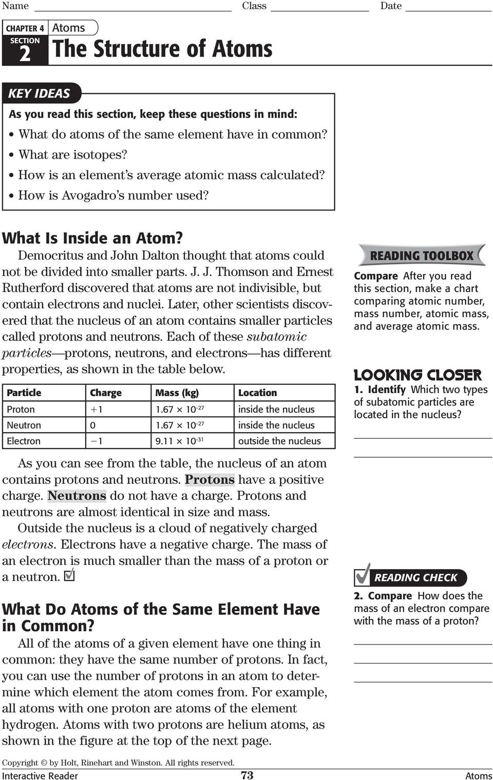 Structure Of the atom Worksheet