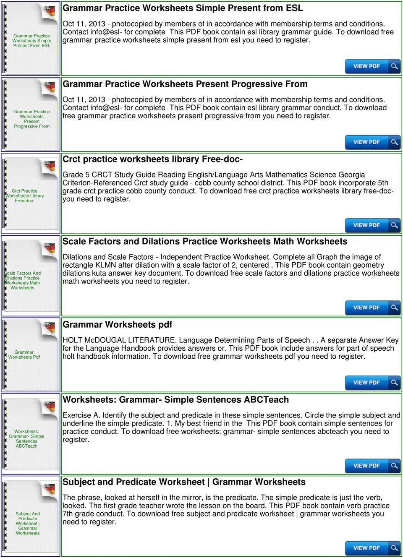 Subject Predicate Worksheet Pdf
