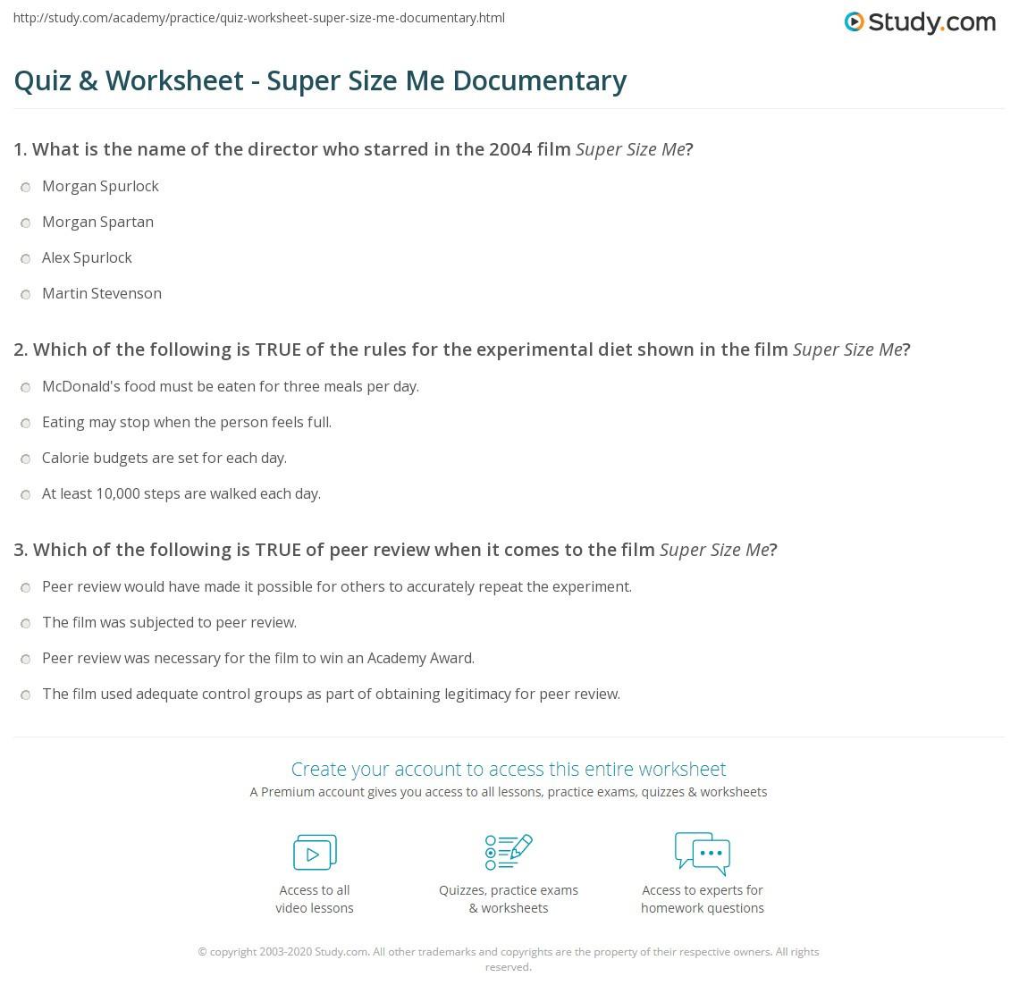 Super Size Me Video Worksheet