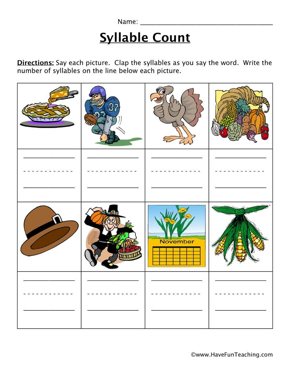 Syllables Worksheet for Kindergarten