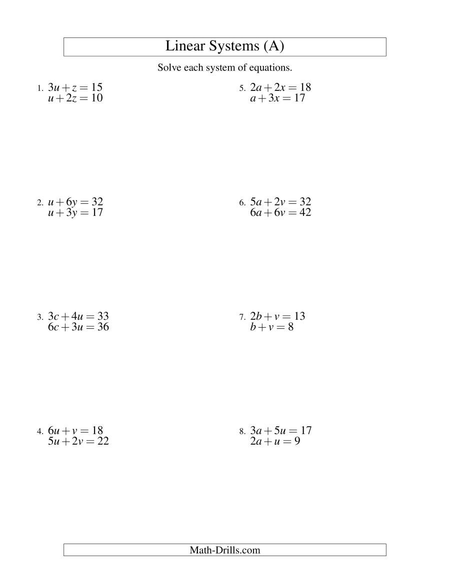 Systems Of Equations Worksheet Pdf