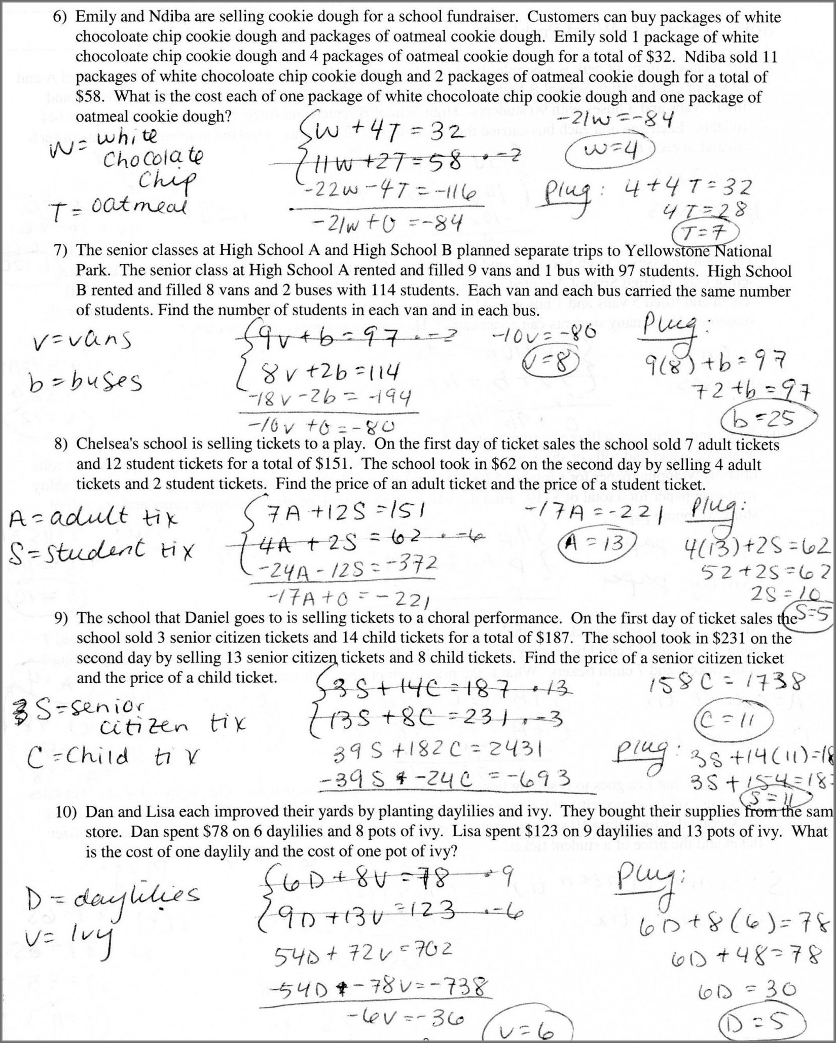 Systems Word Problems Worksheet