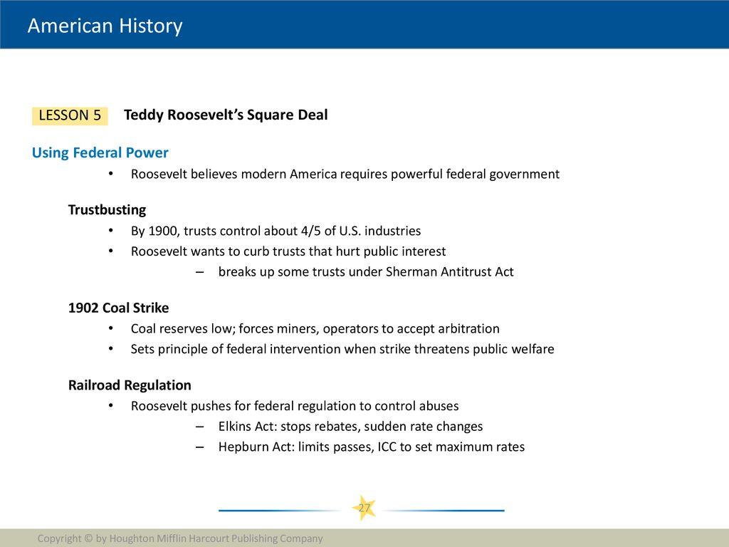 Teddy Roosevelt Square Deal Worksheet