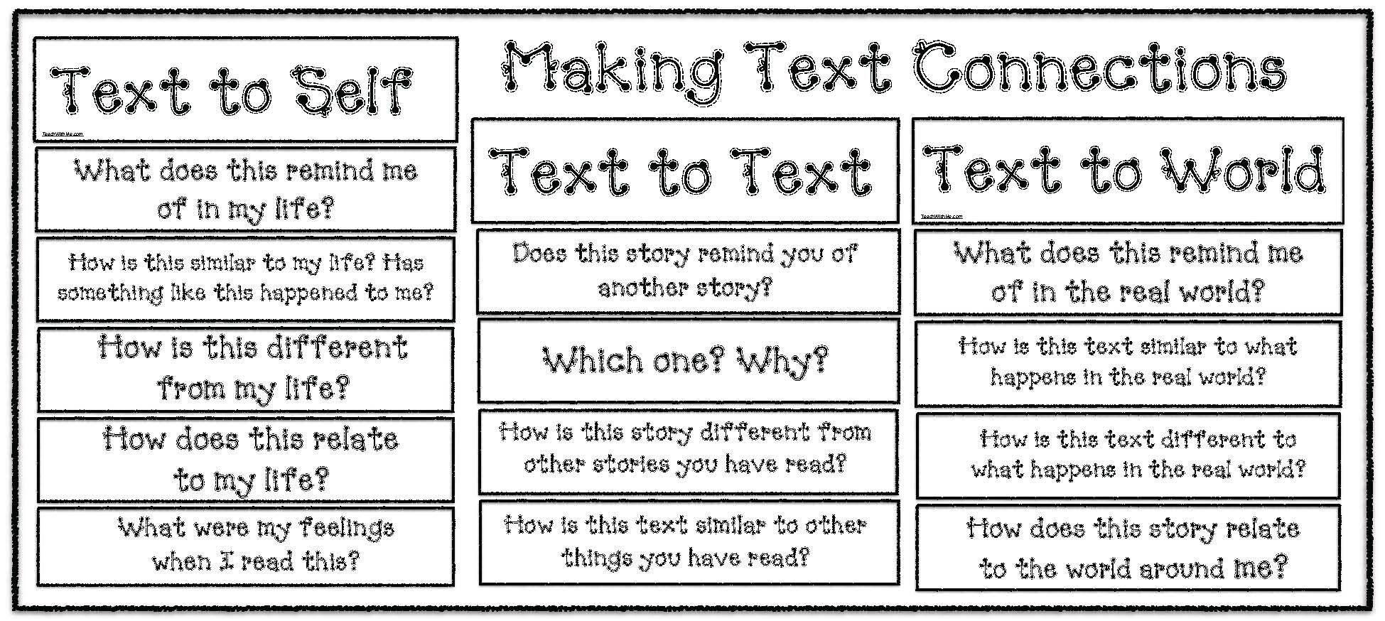 Text to Text Connections Worksheet