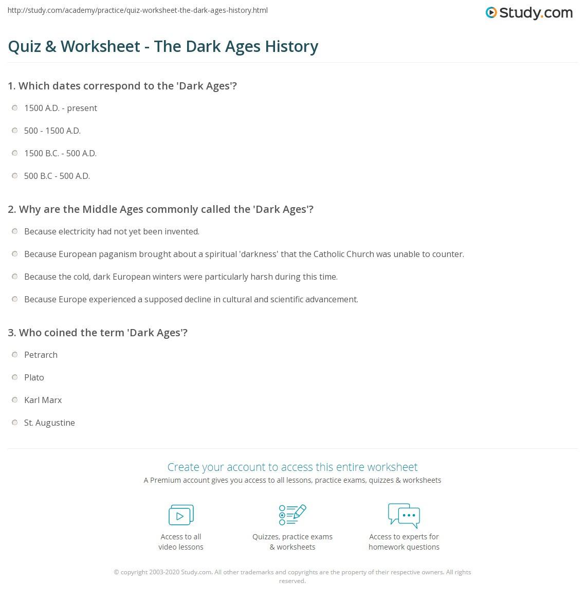 Quiz & Worksheet The Dark Ages History
