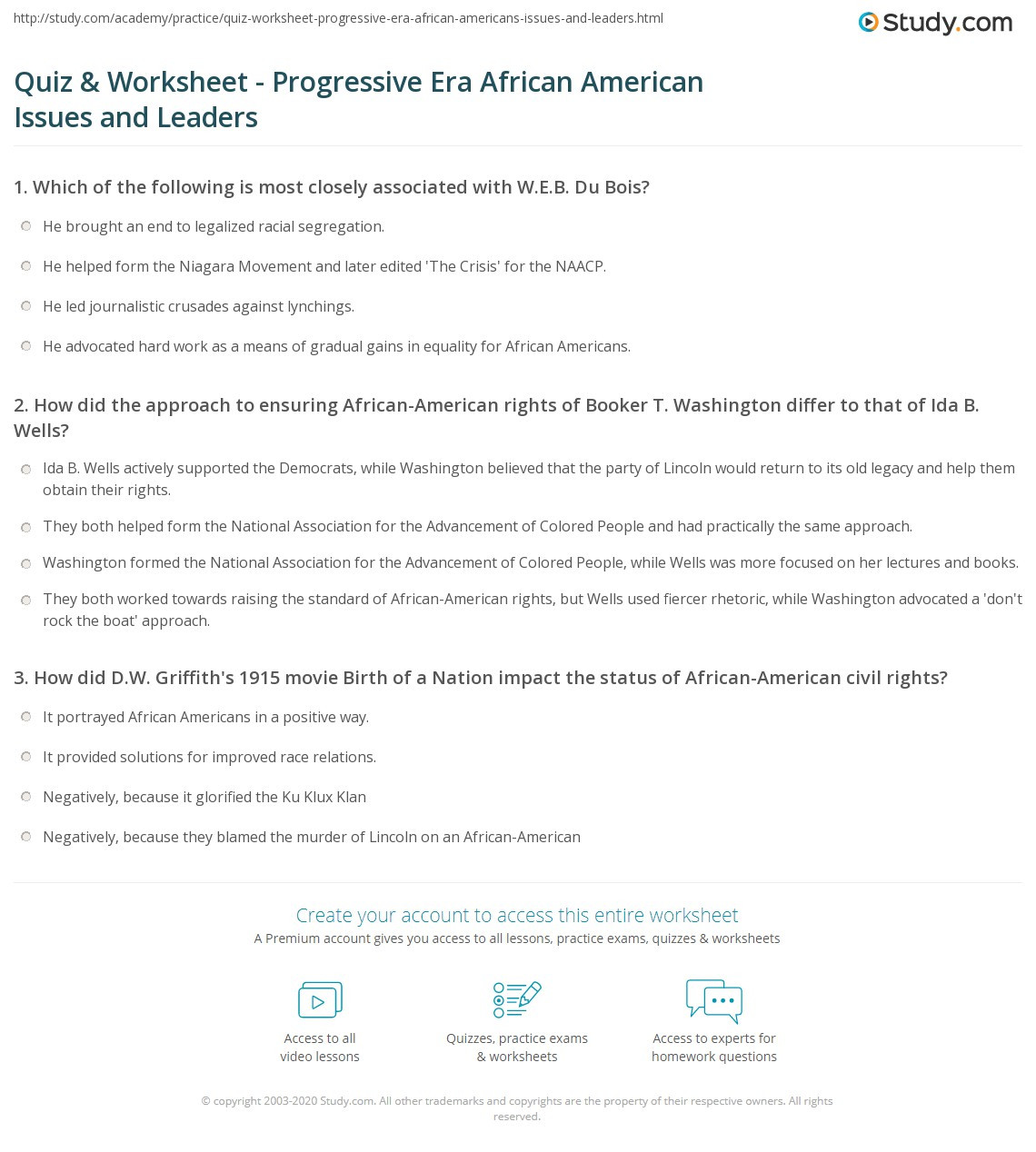 The Progressive Era Worksheet
