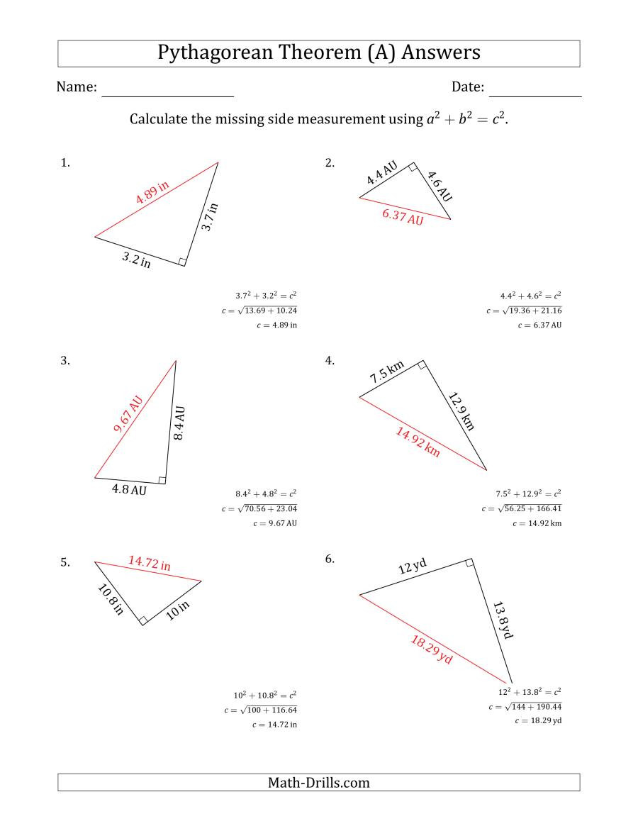 The Pythagorean theorem Worksheet