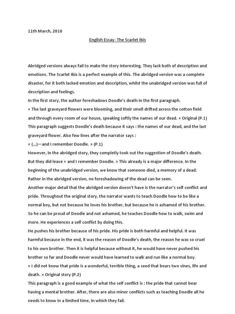 The Scarlet Ibis Worksheet