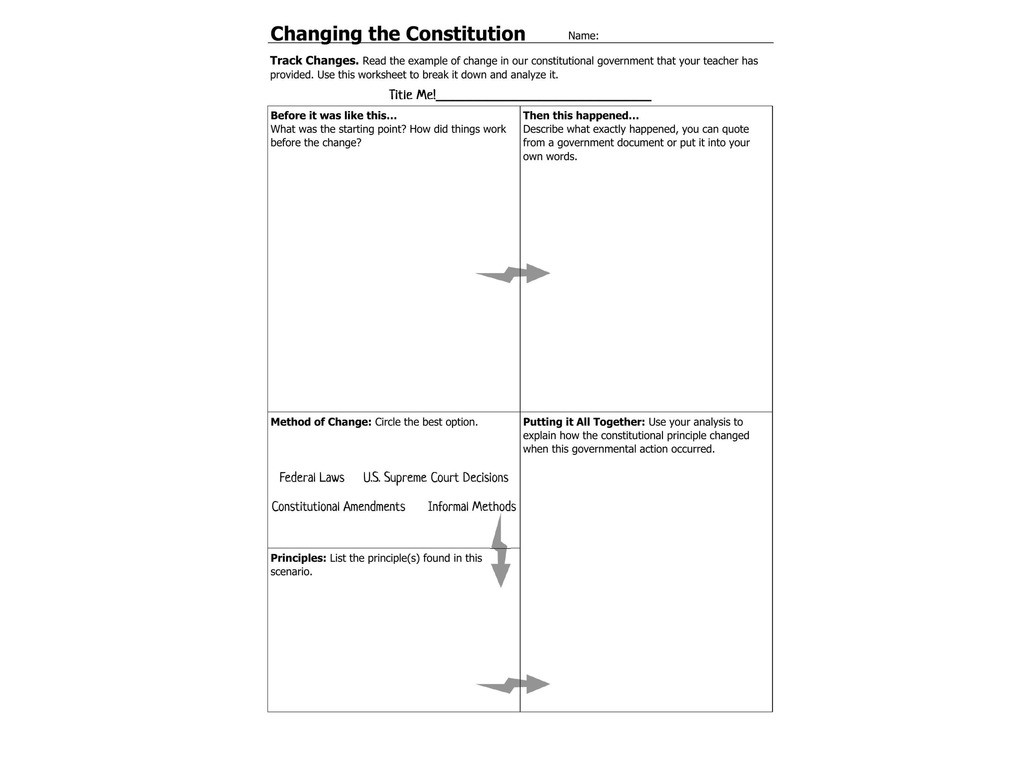 The Us Constitution Worksheet