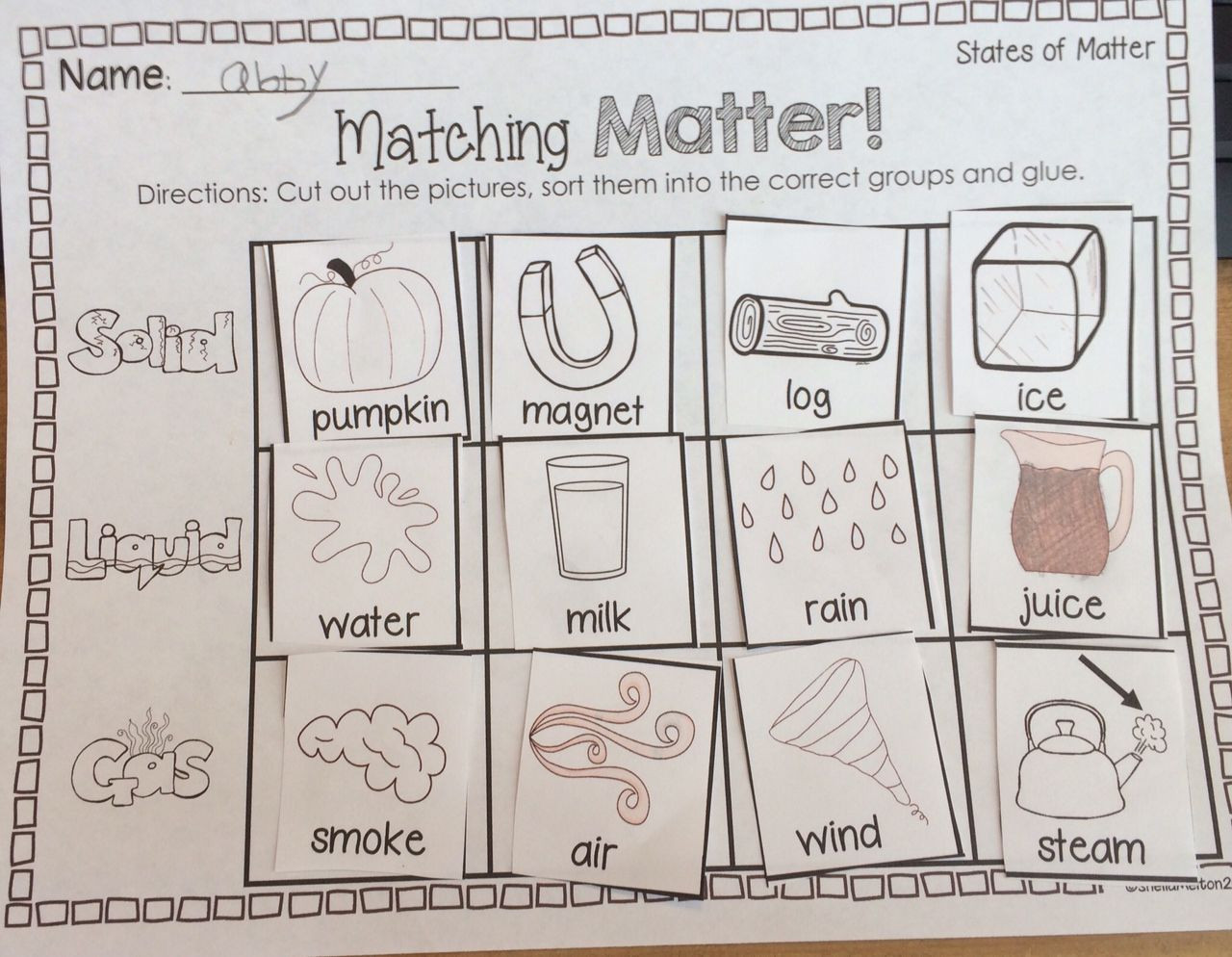 Three States Of Matter Worksheet