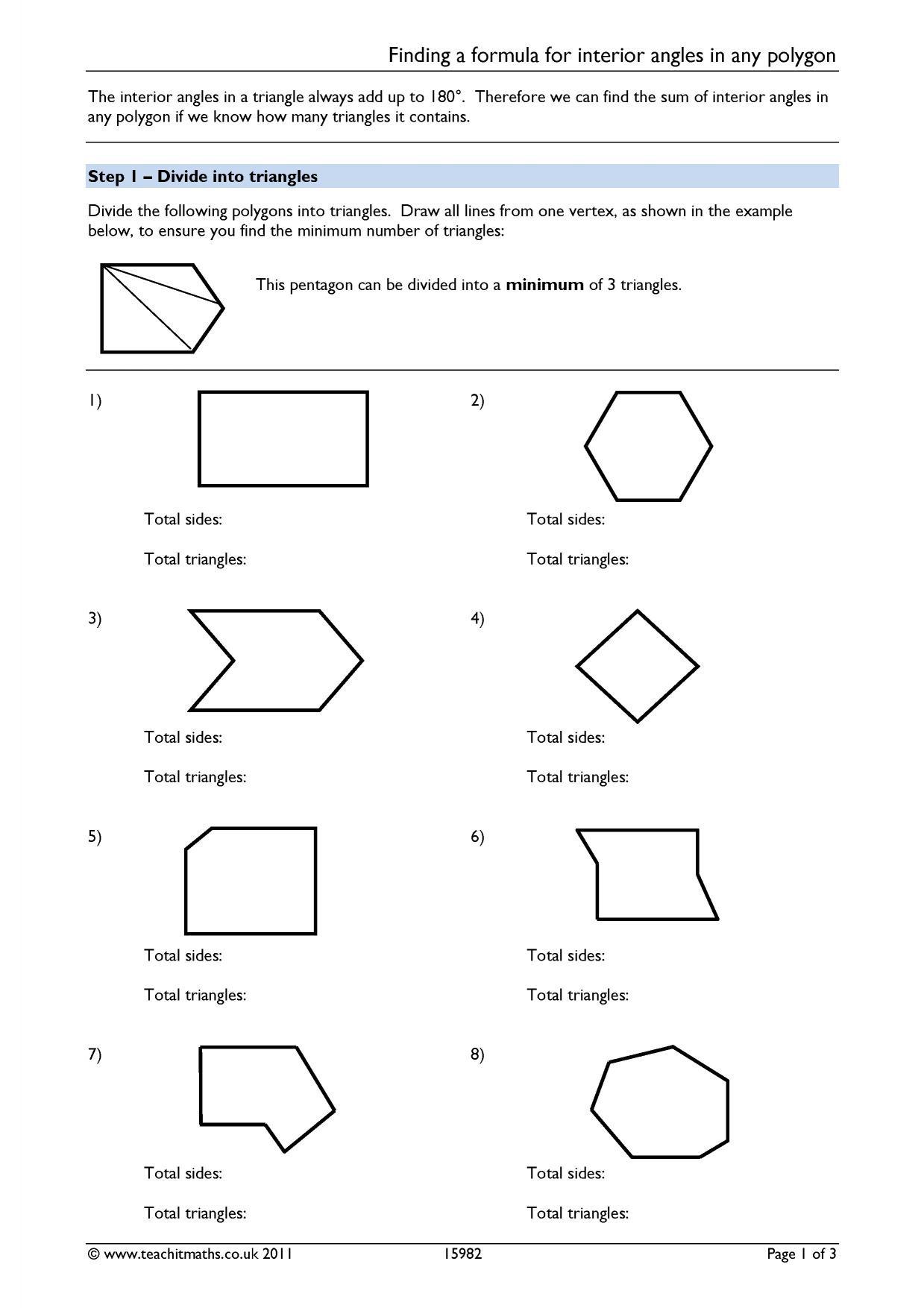 Triangle Angle Sum Worksheet