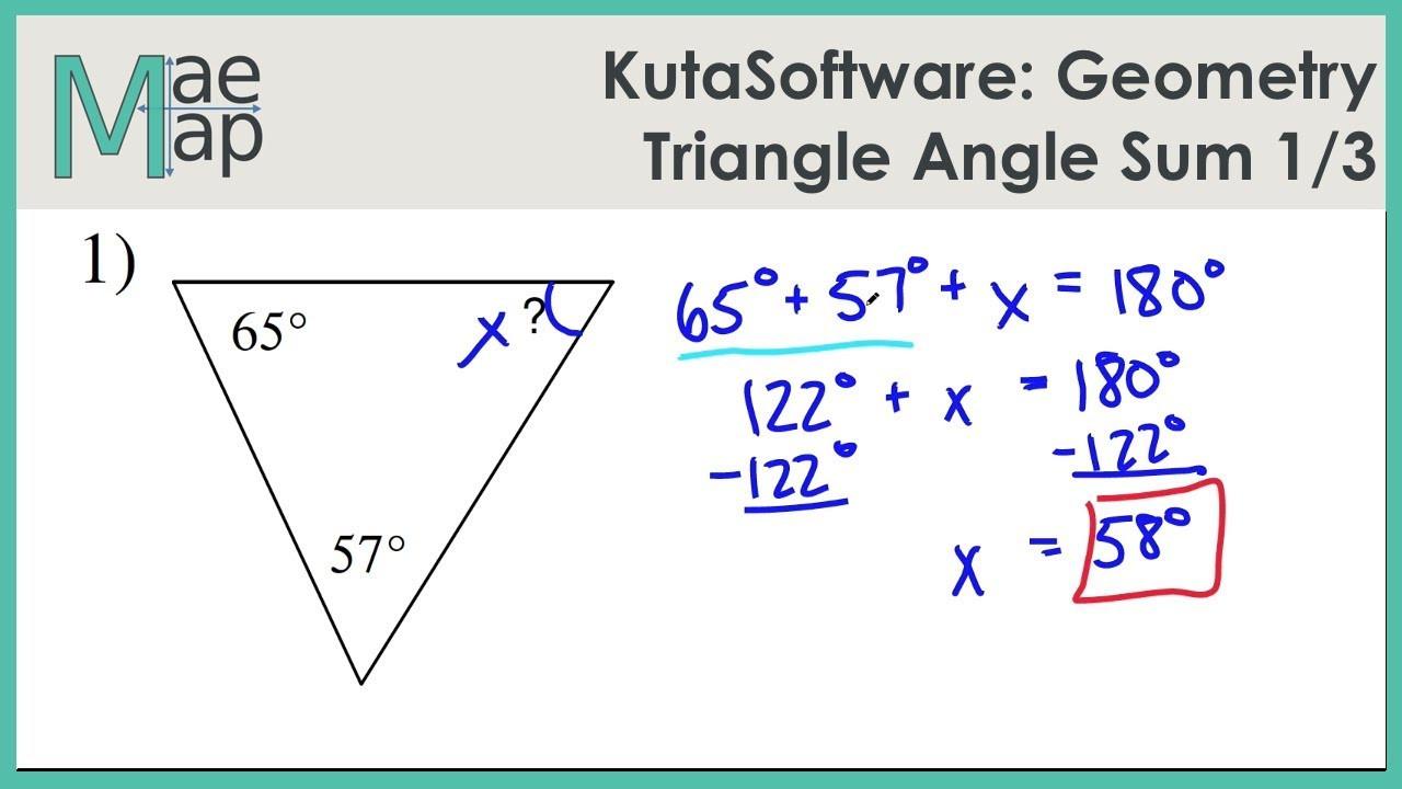 KutaSoftware Geometry Triangle Angle Sum Part 1