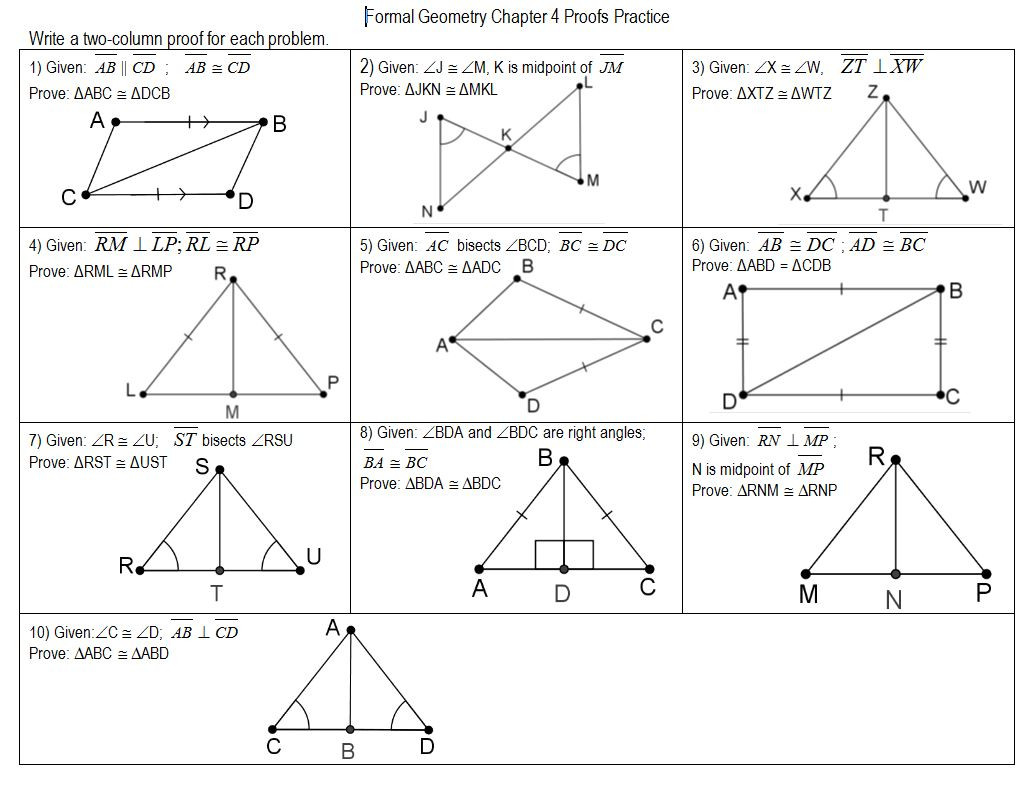 Triangle Congruence Worksheet Answers