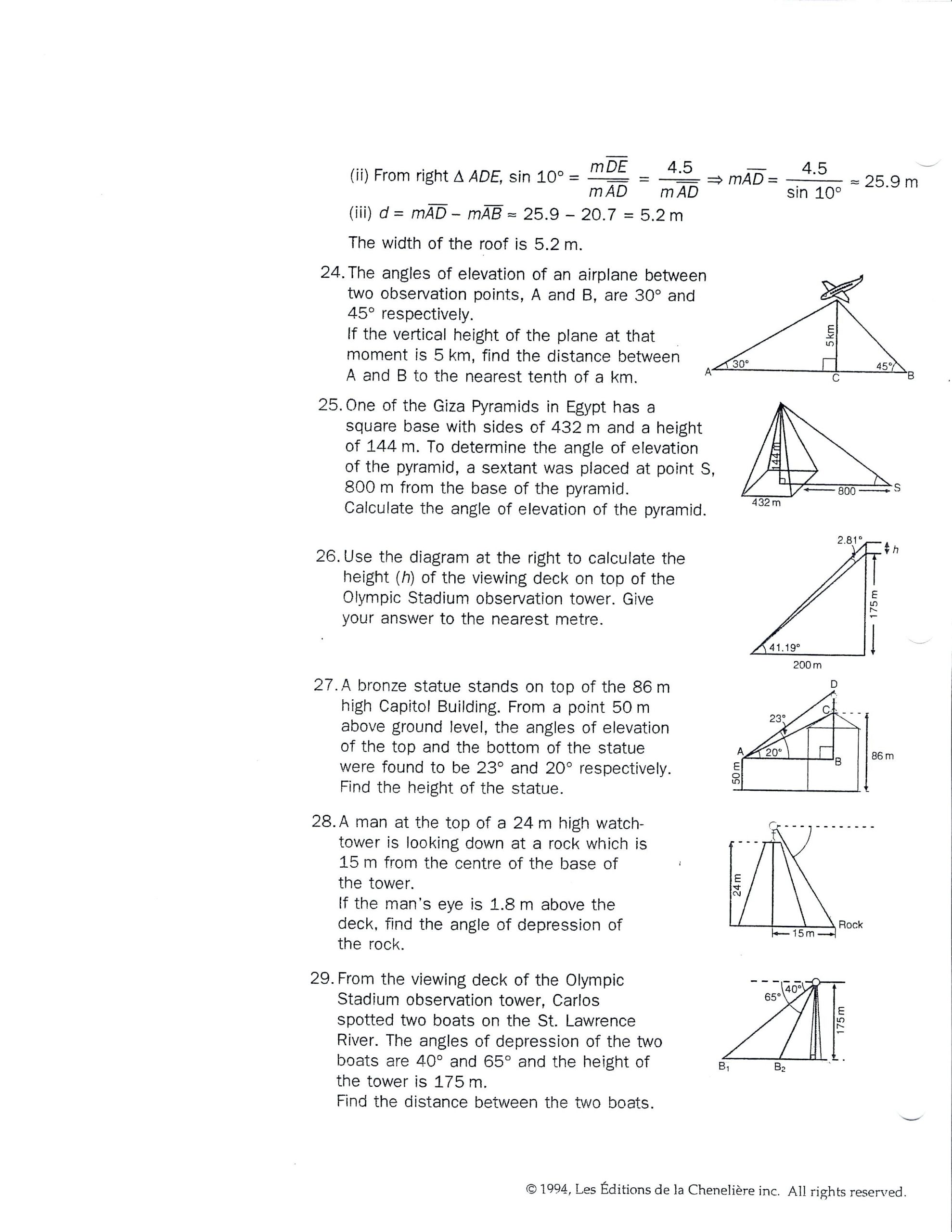 Trig Word Problems Worksheet Answers