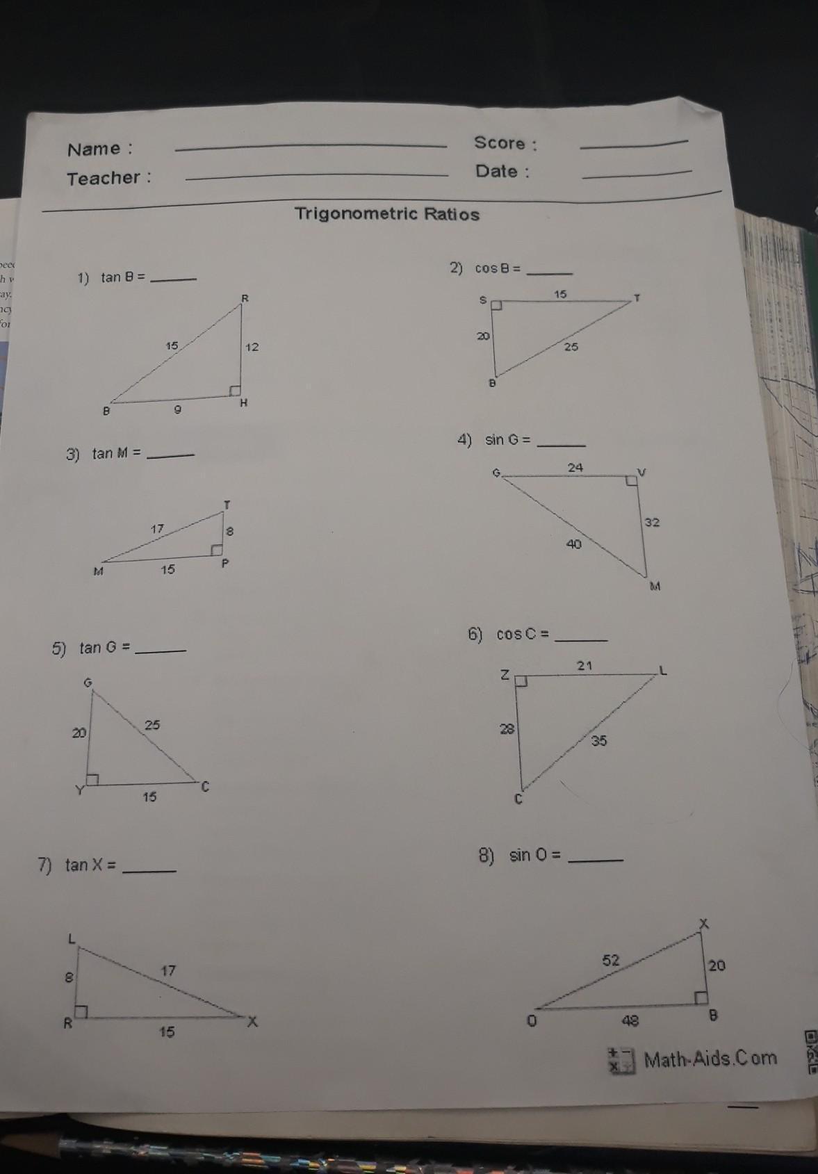 Trigonometric Ratios Worksheet Answers