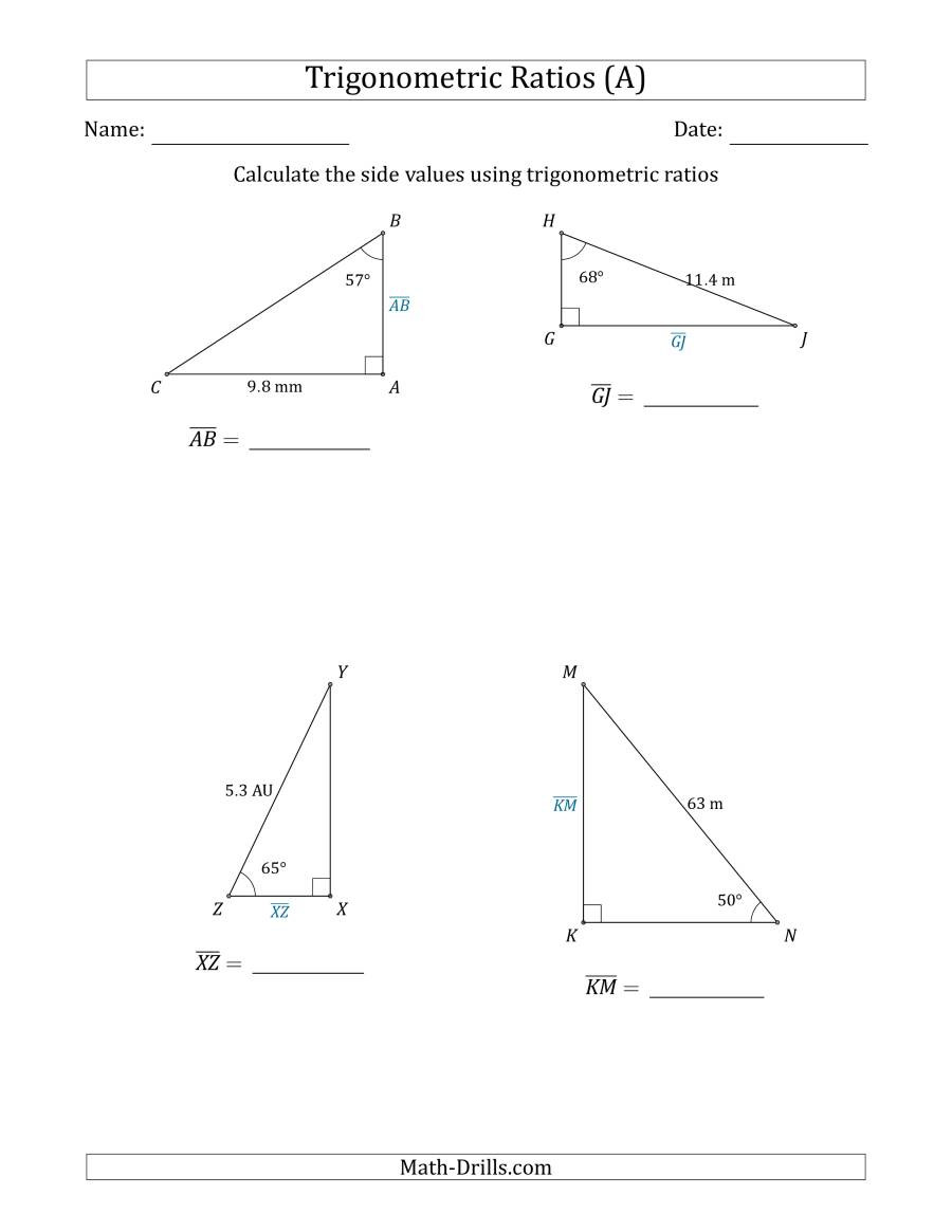 Calculating Side Values Using Trigonometric Ratios A
