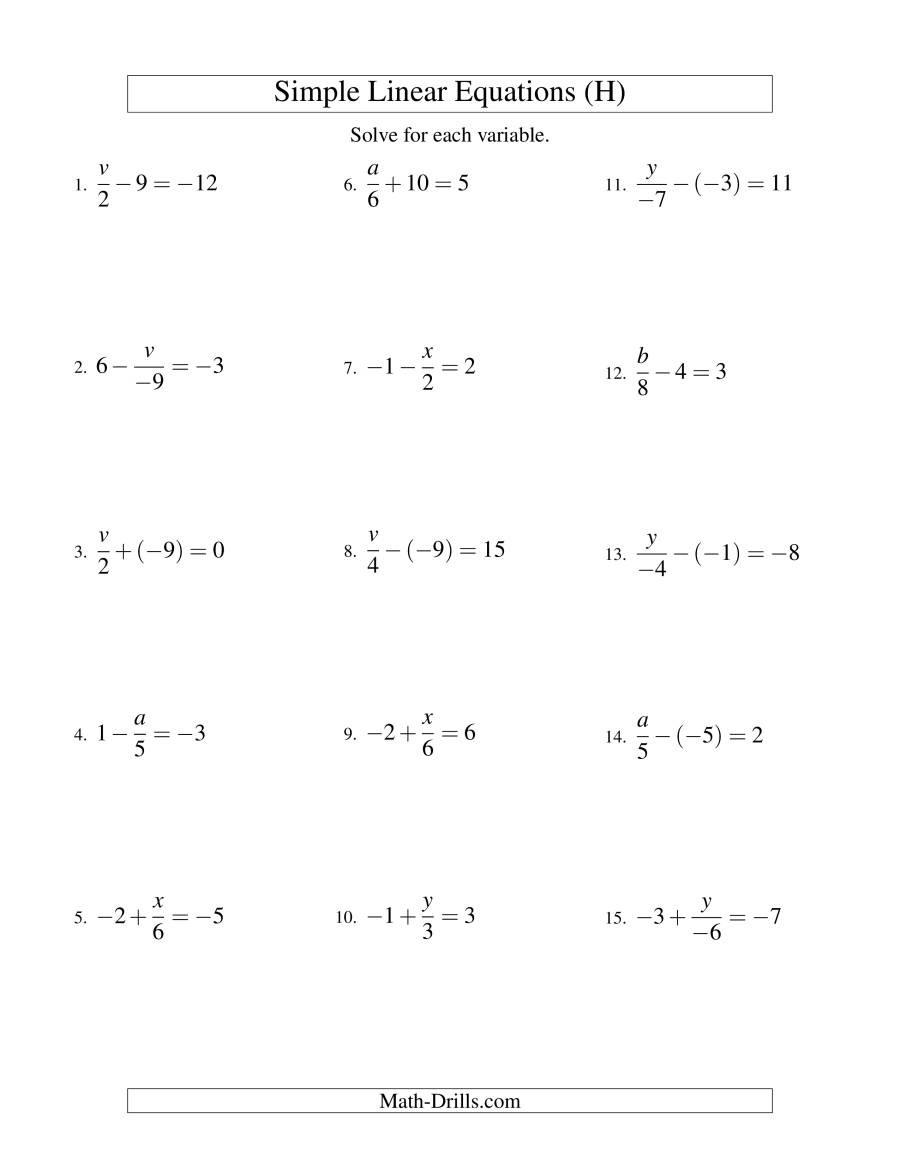 Two Step Equations Worksheet Pdf
