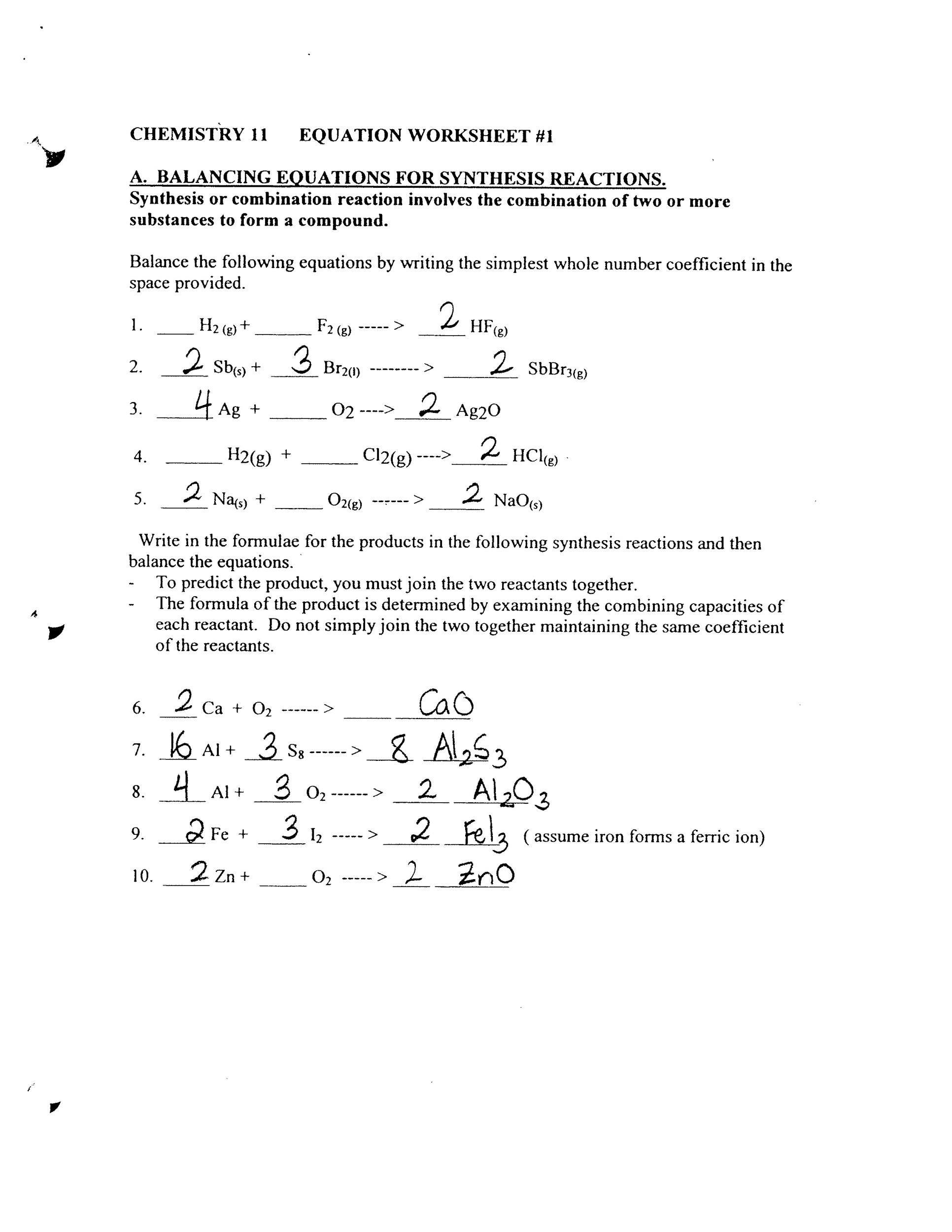 Types Of Reactions Worksheet