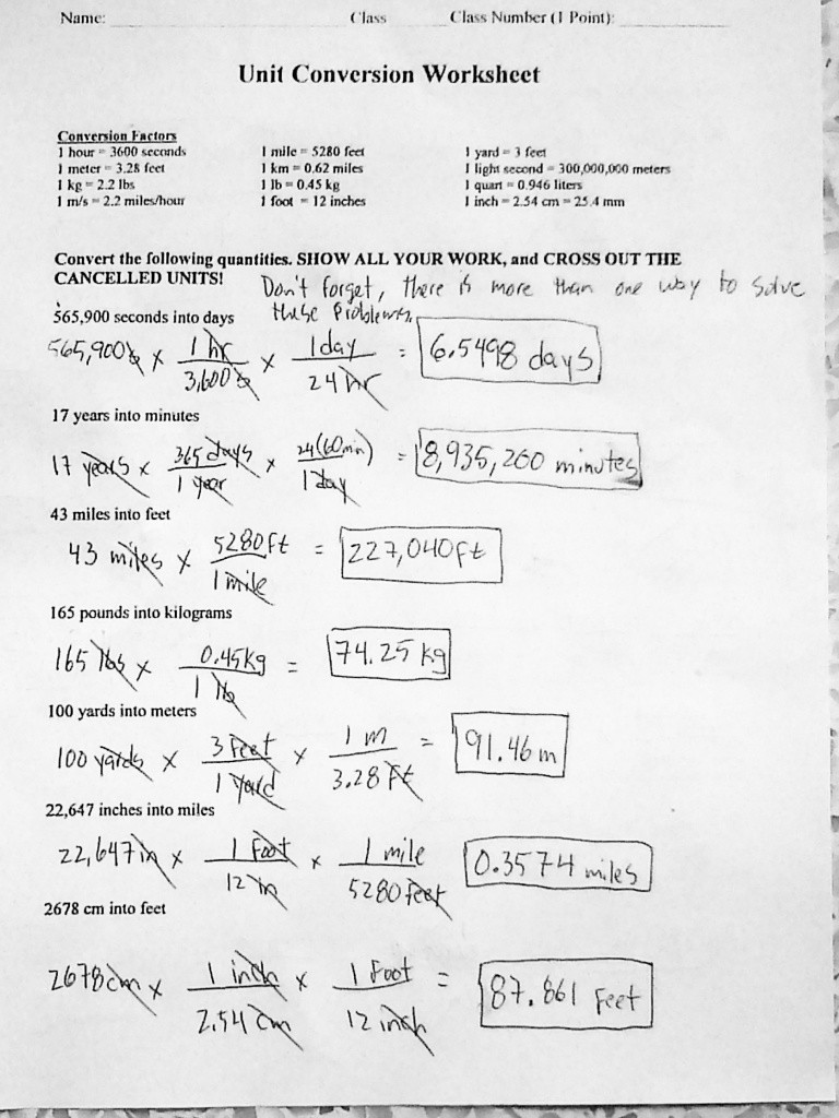 Unit Conversions Worksheet Answers