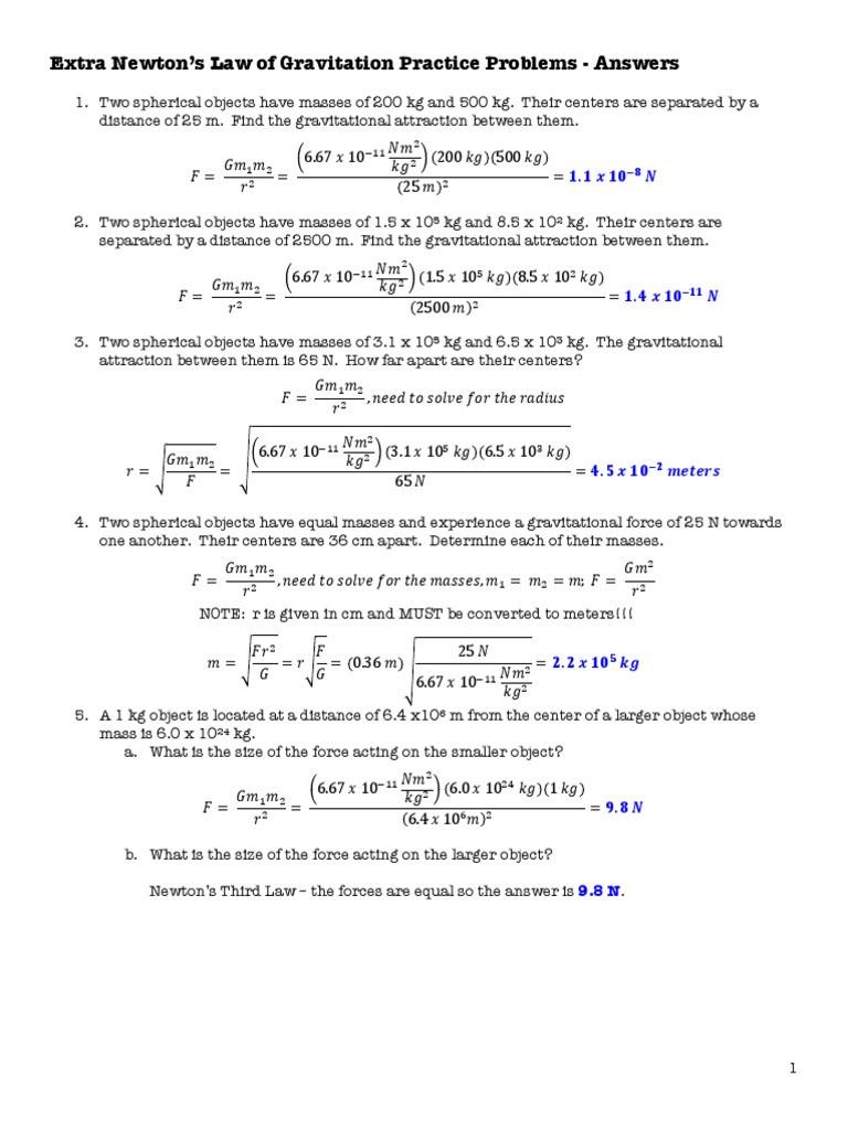 Newtons Law of Universal Gravitation Answers pdf