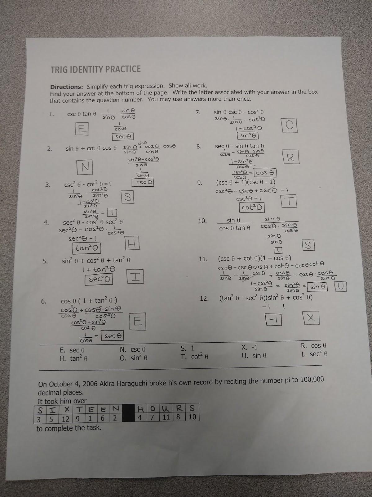 Verify Trig Identities Worksheet