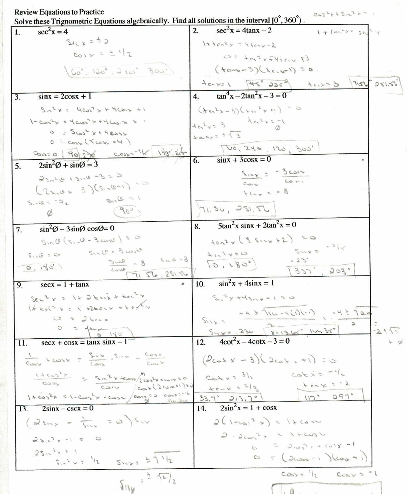 Proving Trig Identities Worksheet