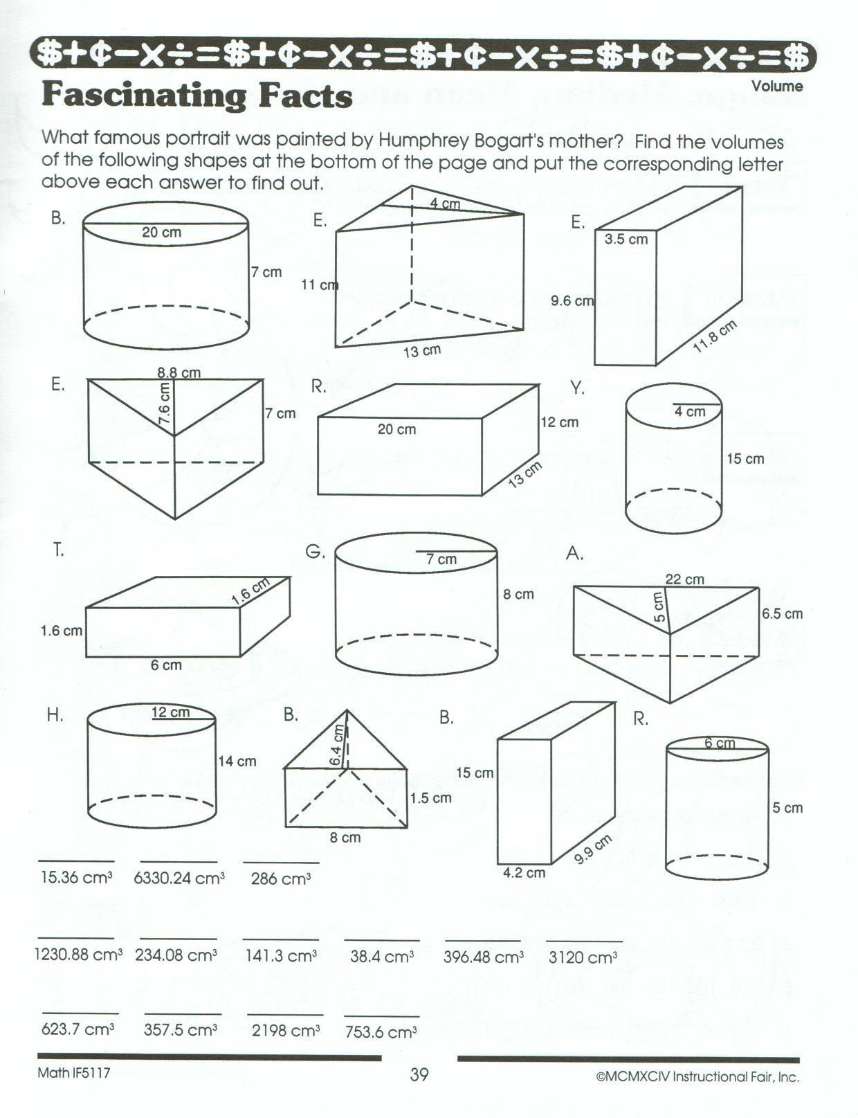 Volume Of Cylinders Worksheet