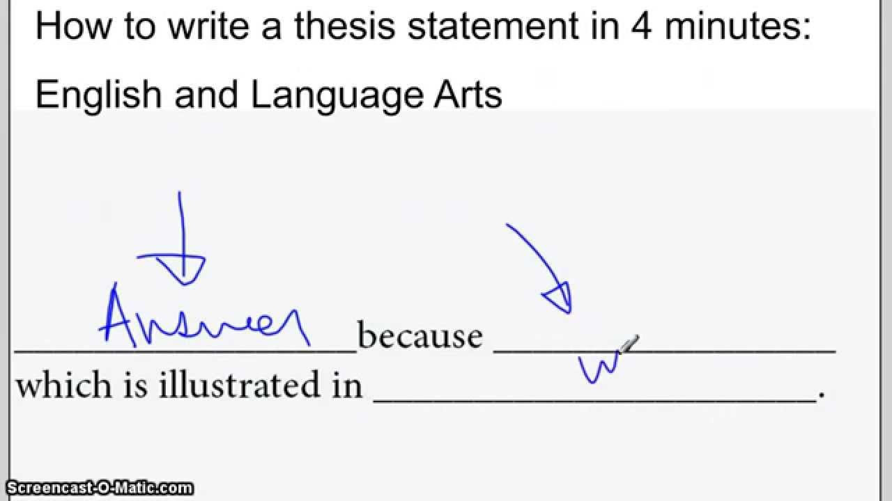 Writing A thesis Statement Worksheet
