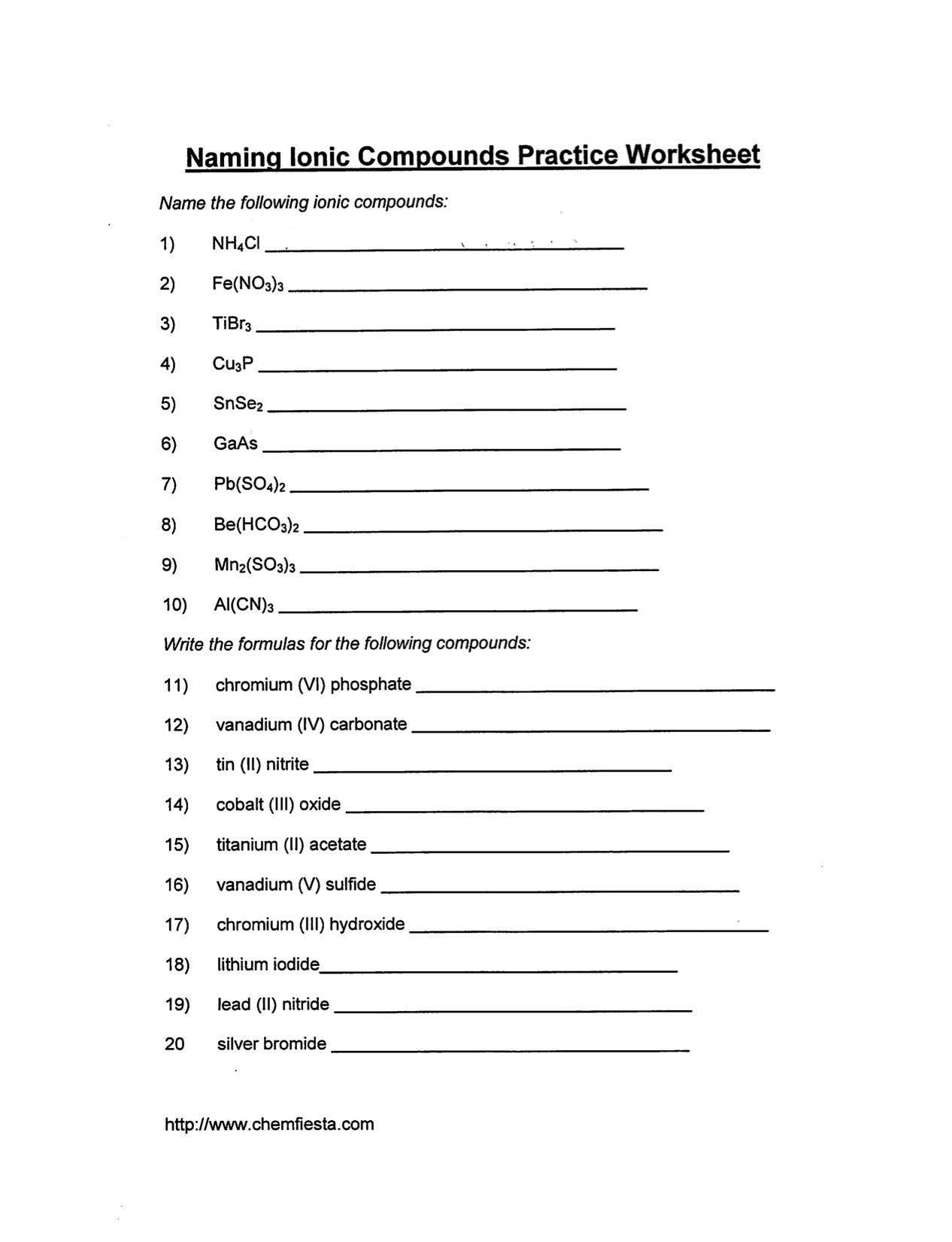 Writing Ionic formulas Worksheet