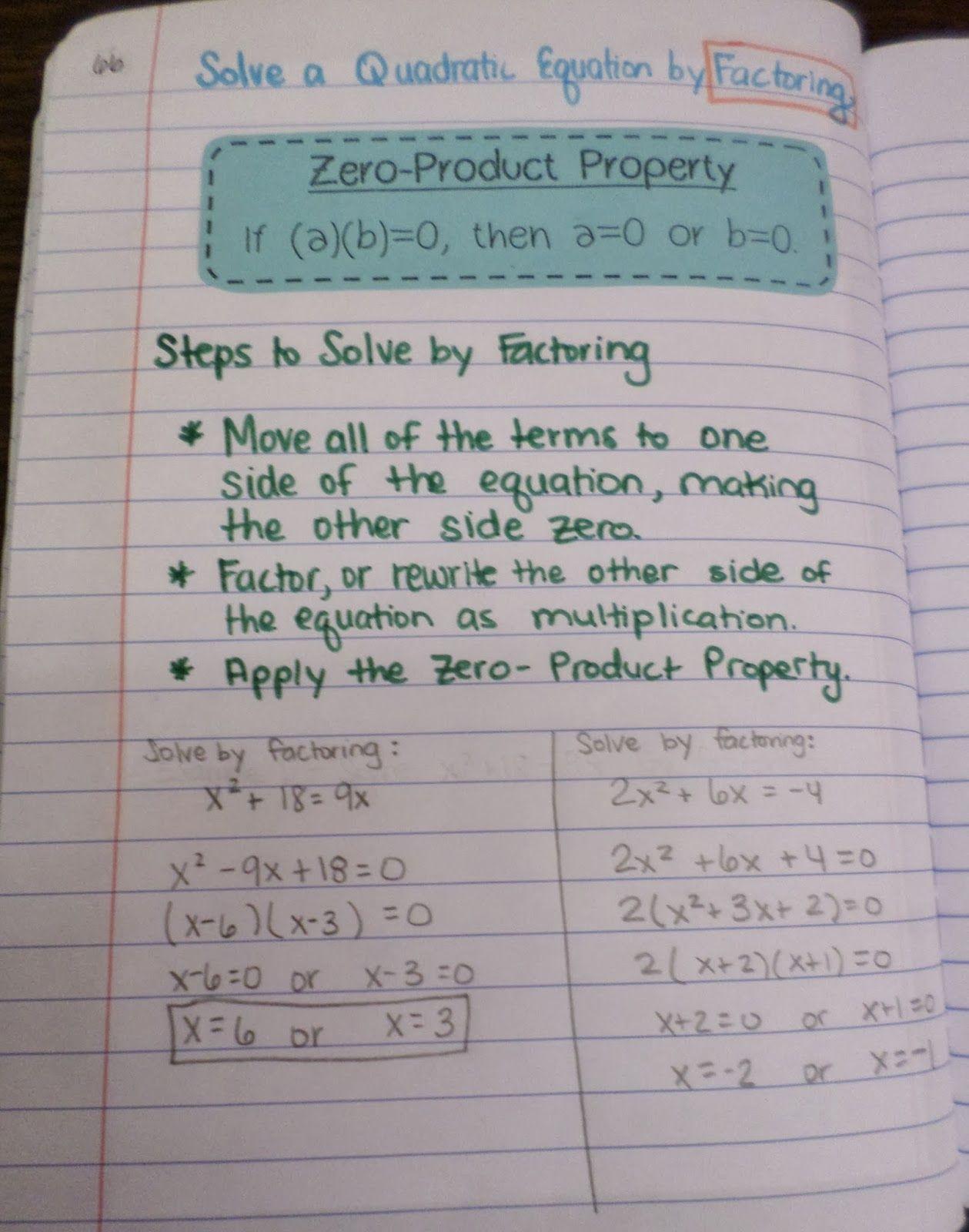Zero Product Property Worksheet